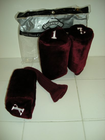 DELUXE LONG HEADCOVERS, SET OF 3 FUR TOP BURGUNDY *NEW