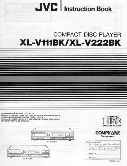 JVC XL-V111BK/XL-V222BK CD PLAYER OWNER'S MANUAL *NEW*