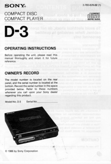 SONY D-3 CD PLAYER OWNER'S MANUAL *NEW*