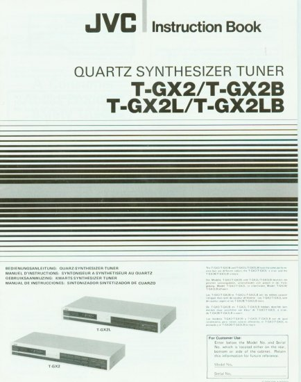 JVC T-GX2/B/L/LB STEREO TUNER OWNER'S MANUAL *NEW*