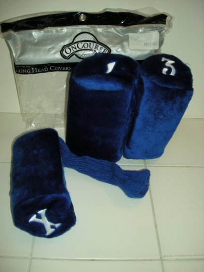 DELUXE LONG HEADCOVERS, SET OF 3 FUR TOP BLUE *NEW*