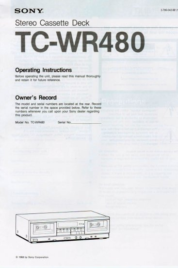SONY TC-WR480 STEREO CASSETTE DECK OWNER'S MANUAL *NEW*