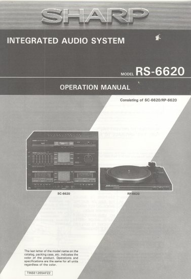 SHARP RS-6620 INTEGRATED AUDIO SYSTEM OWNER'S MANUAL