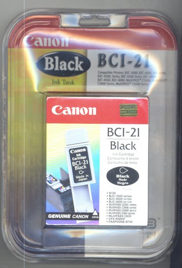 CANON BCI-21 BLACK CARTRIDGE *NEW/FACTORY SEALED