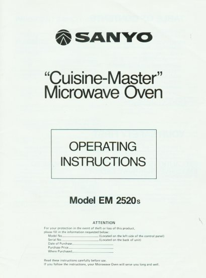 SANYO MICROWAVE EM-2520s OWNER'S MANUAL **NEW**