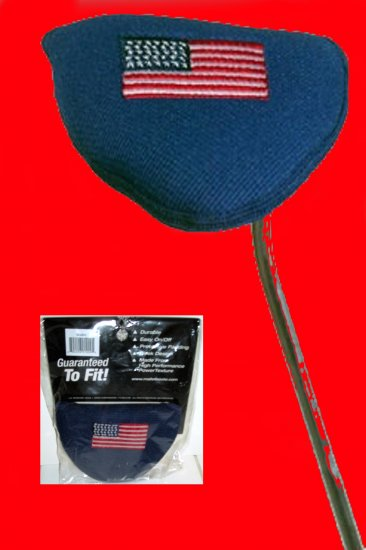 MALLET PUTTER COVER,OVERSIZE RIGHT OR LEFT, AMERICAN FLAG *NEW