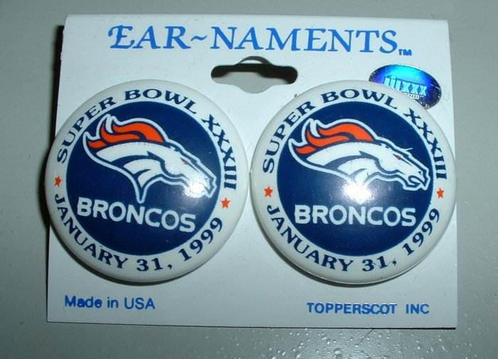 DENVER BRONCOS SUPER BOWL XXXIII POST EARRINGS *NEW*