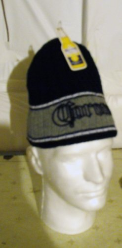 CORONA EMBROIDERED KNIT CAP, BLACK & SILVER **NEW**