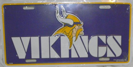 MINNESOTA VIKINGS NFL LICENSE PLATE, 6X12 **NEW**