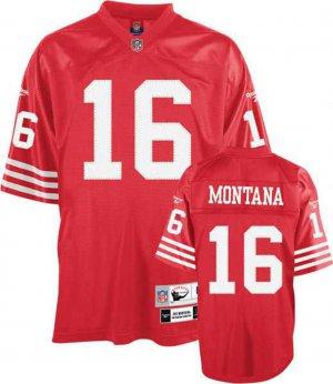 JOE MONTANA SF 49ERS #16 THROWBACK JERSEY, SIZE 52 *NEW*