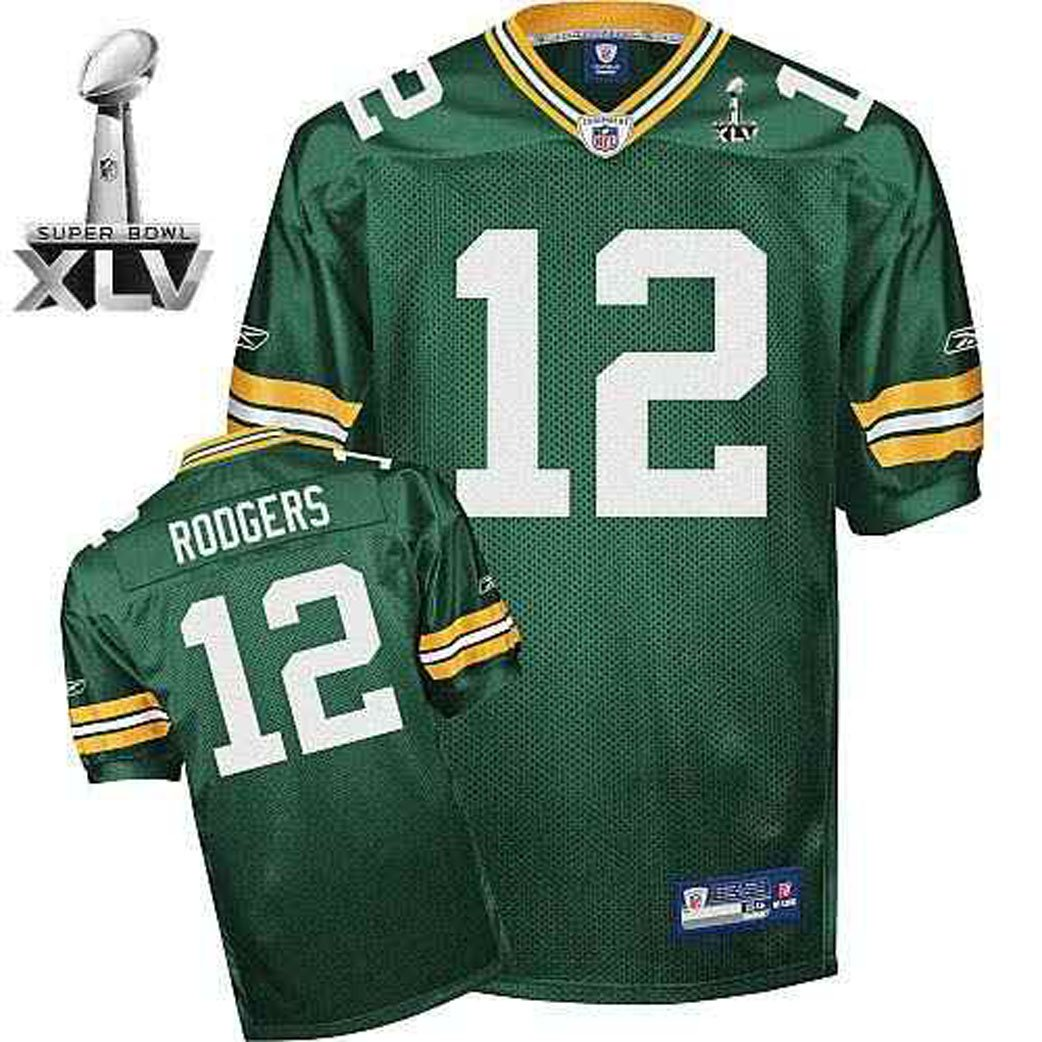 """AARON RODGERS #12 GREEN BAY PACKERS NFL """"ON-FIELD"""" SUPER BOWL XLV JERSEY, SIZE 52 *NEW*"""