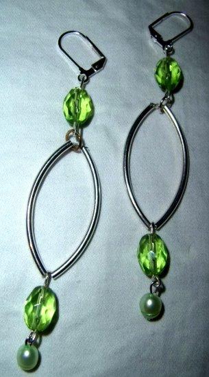 Pretty Green & Silver Earrings
