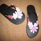 Girl's Black Funky Flowers Flip Flops