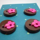 Coco Raspberry round Buttons with flowers - mylime
