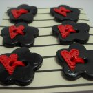 Black Cherry Flower Buttons with mini Hearts - mylime