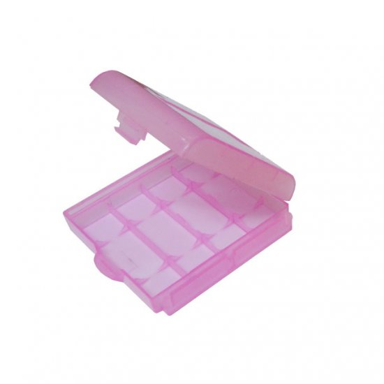 4x Pink Plastic Battery Storage Box Case - 2A 3A