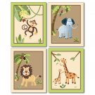 SET OF 4 ART PRINTS 8x10 SAFARI JUNGLE ANIMALS