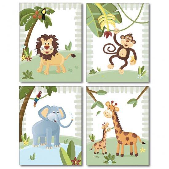 JUNGLE ANIMALS / SET OF 4 ART PRINTS FOR KIDS ROOM
