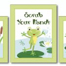 FROGGY FROG SET OF 3 BATHROOM PRINTS WASH YOUR HANDS