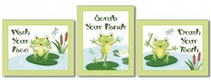 FROGGY FROG SET OF 3 BATHROOM PRINTS WASH YOUR HANDS