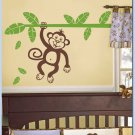 Jungle Monkey Branch with Leaves kids Vinyl Wall Decal