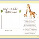 "SAFARI JUNGLE GIRAFFE 8""x10"" BABY ULTRASOUND POEM PRINT"