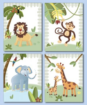 "8""x10"" Set of 4 Prints Jungle Safari Animals FREE GIFT!"