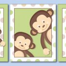 SET OF 3 MONKEY POP MONKEYS NURSERY DECOR ART PRINTS