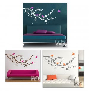 Cherry Blossom with Birds Vinyl Wall Decal Smileywalls