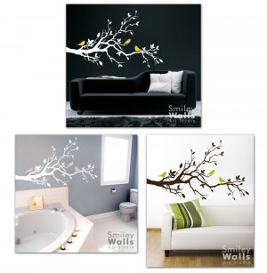 Love Birds on Branch with Leaves Vinyl Wall Decal Art