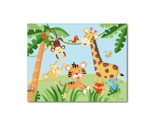 "11""x14"" ART PRINT FOR KIDS RAINFOREST JUNGLE ANIMALS"