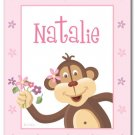 "11""x14"" GIRL'S PERSONALIZED ART PRINT MONKEY & FLOWERS"