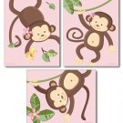 SET OF 3 PINK JUNGLE MONKEY MONKEYS NURSERY ART PRINTS