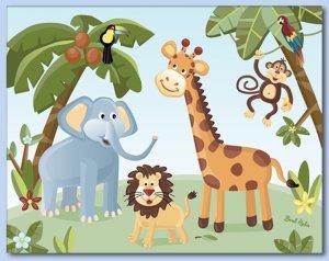 "11""x14"" ART PRINT FOR KIDS / JUNGLE SAFARI ANIMALS"