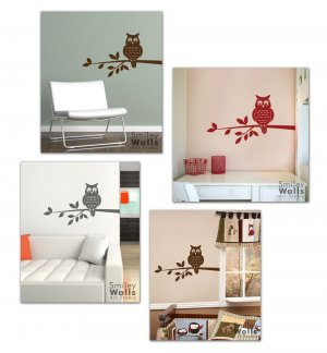 Owl on a Branch - Vinyl Wall Decal Smileywalls Design