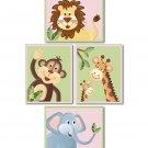 SET OF 4  ART PRINTS FOR GIRLS / JUNGLE SAFARI ANIMALS