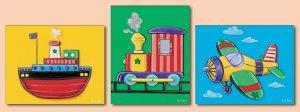 Set of 3 Nursery Art Prints Vehicles Plane Train Ship