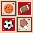 SET OF 4 PRINTS / SPORTS BASKETBALL FOOTBALL BASEBALL