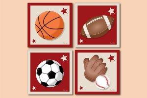 SET OF 4 PRINTS / SPORTS BASKETBALL FOOTBALL BASEBALL