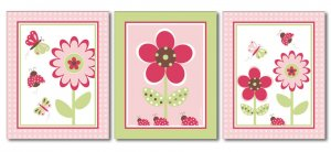 BUTTERFLY FLOWERS BERRY GARDEN LADYBUGS SET OF 3 PRINTS