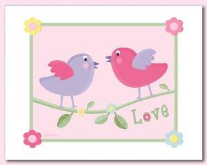 "LOVE BIRDS & FLOWERS 8""x10"" BABY ULTRASOUND POEM PRINT"