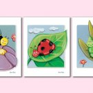 Set of 3 art prints for girls Lady Bug Bees Flowers