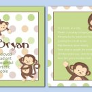 SET OF 2 MONKEY POP MONKEYS POEM&NAME WALL ART PRINTS