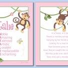 SET OF JUNGLE MONKEYS POEM&GIRL'S NAME WALL ART PRINTS
