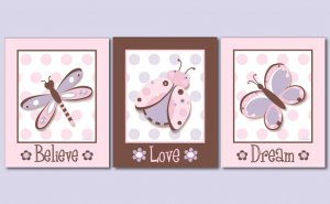 "11""x14"" GIRL'S PERSONALIZED ART PRINT FLOWERS BUTTERFLY"