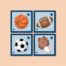 SET OF 4 PRINTS / SPORTS FOOTBALL  BASKETBALL  BASEBALL