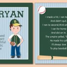 SET OF NAME & BASEBALL SPORTS POEM ART PRINTS FOR BOYS