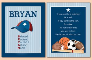 SET OF NAME & SPORTS POEM WALL ART PRINTS FOR BOYS