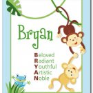 SET OF JUNGLE RAINFOREST MONKEYS POEM&BOY NAME PRINTS