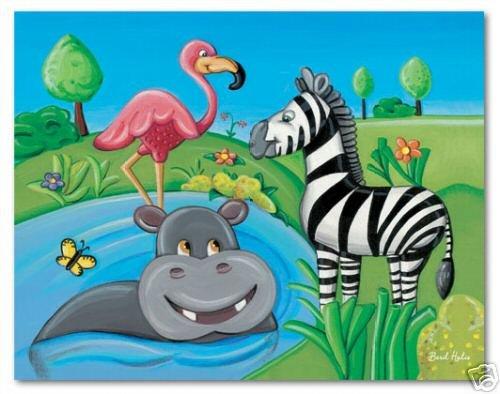 "11""x14"" ART PRINT NURSERY KID'S ROOMS /  SAFARI ANIMALS"